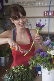 Female Florist Cutting Stem Of Flower Royalty Free Stock Photography