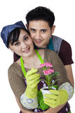 Female florist with her husband Royalty Free Stock Images