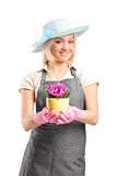Female florist holding a plant Stock Photos