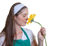 Female florist loves flowers Royalty Free Stock Photography