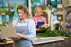 Female Florist Using Laptop In Flower Shop Royalty Free Stock Image