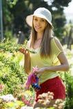 Female florist working in garden Stock Image