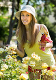 Female florist working in garden Royalty Free Stock Photography