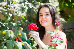 Female florist working in the garden Stock Photography