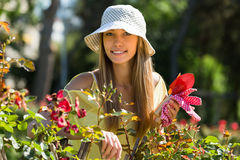 Female florist working in garden Stock Images