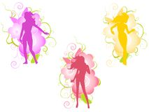 Female Flower Design Silhouettes. An illustration featuring your choice of 3 female silhouettes in purple, pink and gold standing in front of decorative flower Royalty Free Stock Image