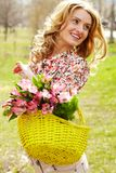 Female with flowers Royalty Free Stock Photos
