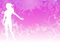 Female and Flowers Silhouette. A background illustration featuring a female silhouette in white against light purple / pink background with flowers and vines Stock Photo