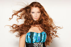 Female with fluttering in the wind hair Stock Images
