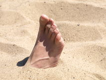 Female foot on beach Stock Photography