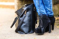 Female foot in elegant black shoes. Royalty Free Stock Photos