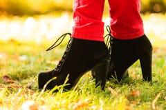 Female foot in elegant black shoes. Stock Image
