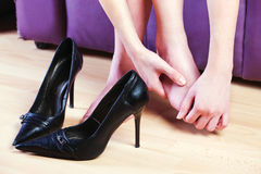 Female foot massage Royalty Free Stock Photos
