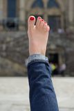 Female foot with a pedicure Stock Photos