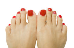 Female foot with red pedicure, isolated. Female foot with red pedicure close up, isolated Stock Photography