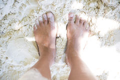 Female foot on the sand Royalty Free Stock Images