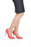 Female foot shoes skirt. Legs pantyhose Stock Photography