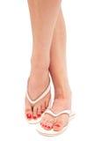 Female foot in thongs Stock Image