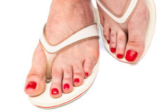 A female foot in thongs. Female foot in thongs on a white background Stock Photography