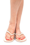 Female foot on white background Stock Photos