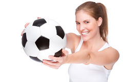 Female football fan Royalty Free Stock Photography