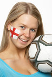Female Football Fan With St Georges Flag On Face Stock Photography