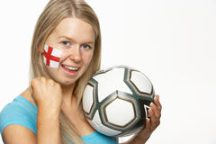 Female Football Fan With St Georges Flag On Face Royalty Free Stock Photos