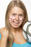 Female Football Fan With St Georges Flag On Face Stock Images