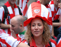 Female football fans royalty free stock image