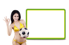 Female football fans with copyspace Stock Photography