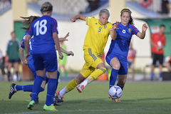Female football game action. Female football players, Lina Hurtig and Victoria Gurdis pictured in action during  the game between Moldova and Sweden, counting Stock Images