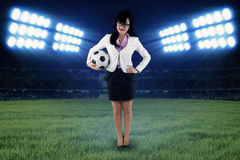 Female football manager at field Stock Photography
