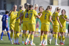 Free Female Football Players Celebrating A Goal Royalty Free Stock Photo - 59597465