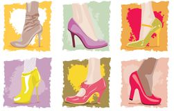 Female footwear. Set of vector female shoes on high heels Stock Photo