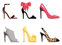 Female Footwear Set of Isolated illustrations Royalty Free Stock Photography