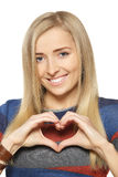Female forming heart shape Royalty Free Stock Photography