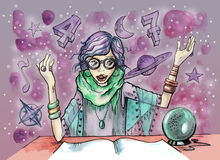 Female Fortuneteller with crystal ball and magic symbols all around her Stock Images