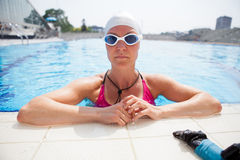 Female freediver at pool Stock Image
