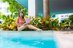 Female freelancer sits by the pool and throws the laptop into the water. girl is outraged, surprised, scared. selective royalty free stock photos