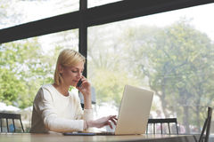 Female freelancer or student working busy on net-book Stock Image