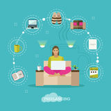 Female freelancer working remotely from her room Royalty Free Stock Image