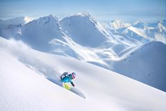 Female freeride skier in the mountains. Winter Royalty Free Stock Images
