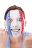Female french fan is cheering,  on white Royalty Free Stock Image