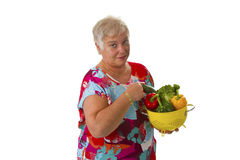 Female with fresh vegetables Stock Photo