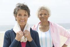 Female Friends At Beach Stock Photography