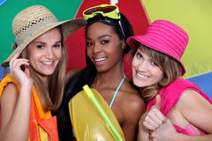 Female friends with beachwear Stock Photography