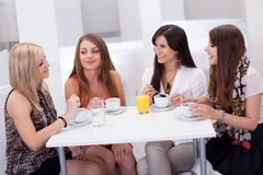 Female friends chatting over coffee. Four stylish attractive young female friends seated at a table chatting over coffee Stock Photos
