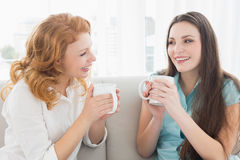 Female friends with coffee enjoying a conversation in the living room Stock Photos