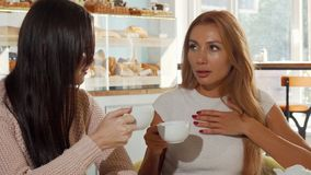 Female friends gossiping, discussing shocking news over cup of coffee royalty free stock photography