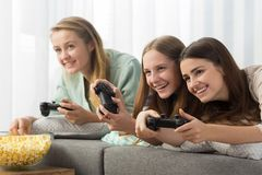Female friends have lazy afternoon Stock Photography